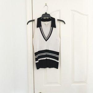Cache Cream/Black Striped Collared Sleeveless Top